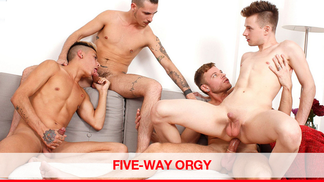 Five way gay sex orgy